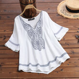Women Bohemian V-neck Half Sleeve Casual Vintage Blouse