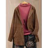 Solid Color Corduroy Long Sleeve Hooded Coats