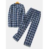 Ciepły bawełniany piżamowy zestaw w kratę