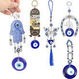 Fer à cheval bleu mauvais œil turc avec des décorations murales d'éléphant et de ruban ☆