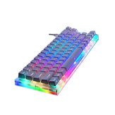 GamaKay K66 66 Keys Mechanical Gaming Keyboard Tyce-C Wired  RGB Backlit Gateron Switch Keyboard with Crystalline Base White Keycaps for PC Laptop