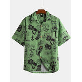Men Tropical Style Short Sleeve Hawaiian Shirts