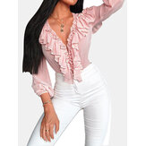 Solid Color V-neck Flouncing Long Sleeve Casual Blouse