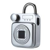 Mini mochila con forma de altavoz bluetooth Smart cerradura Aplicación de carga USB / candado de desbloqueo de huellas dactilares