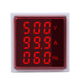 5pcs Geekcreit® 3 in 1 AC 60-500V 100A Square Red LED Digital Voltmeter Ammeter Hertz Meter Signal Lights Voltage Current Frequency Combo Meter Indicator Tester With Round CT