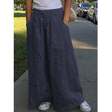 Pierna ancha Mujer Casual Color sólido Suelto Cintura alta elástica Bolsillos laterales Pantalones