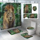 1.8M Bath Bathroom Decor Shower Curtain Set Tiger Lion Prints Polyester 12 Hook