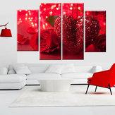 4 Adet Kırmızı Kalp Aşk Tuval Baskı Sanat Boyama Duvar Resmi Ev Dekorasyonu