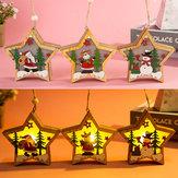 Lichtgevende houten kerstversiering LED-licht Santa Claus Deer Decorations Lamp Xmas