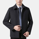 Mens Business Wool Solid Color Turn Down Collar Jacket