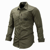 Outdoor Military Style Chest Zipper Pocket Long Sleeve Lapel Cotton Work Shirt for Men