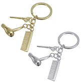 Creative Keychain Alloy Stylist Hair Dryer Scissor Comb Dangle Pendant Key Ring Artware Gift