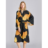 Long Sleeve Flora Printed Kimono Robe Midi Silky Nightgown