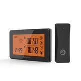 DIGOO DG-TH0340 Pomarańczowa tylna stacja pogodowa LCD ze zdalnym czujnikiem Budzik Ekran dotykowy 12/24 Prognoza pogody Wilgotność Budzik