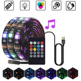 0.5M 1M 2M 3M Impermeable 5050 Música RGB USB LED Tira de luz + IR Control remoto para KTV Hotel Bar TV Fondo