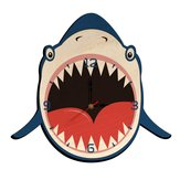Creative Wooden Hang Clock Shark Shape Wall Watch Silent Mute Clock for Kids Bedroom Wall Decoration Wall Clock
