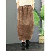 コーデュロイエラスティックウエストルーズソリッドビンテージスカート