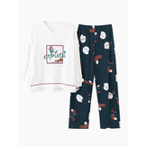 Womens Cotton V-Neck Long Sleeve With Ruffle Printed Pajamas