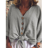 Women Long Sleeve Loose Button Casual Cotton Blouse
