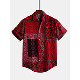 Herren Red Printed Sommer Kurzarm Ethnic Style Loose Casual Shirts