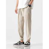 Mens Vintage Cotton Linen Drawstring Solid Color Casual Pant