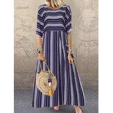 Frauen Kurzarm Oansatz Striped Casual Maxi Kleid