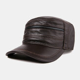 Men's Baseball Cap Goatskin Hat Leather Flat Top Hat
