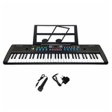 61 Keys Digital Keyboard Electronic Piano Double Horn Stereo Sound with Microphone Music Stand for Children