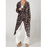 Leopard Print Cowl Neck High Split Long Shirts