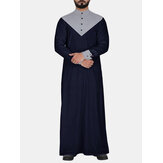 Mens Indian style stitching long robe Shirts