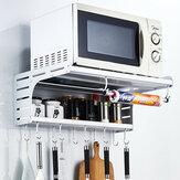 Aluminium Mikrowelle Wandhalterung Mikrowelle Küche Desktop Organizer Racks 2 Schicht Ofen Stehen Küche Lagerung mit Haken