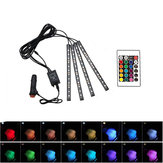 4PCS 16 Color LED Car Floor Decoration Lights Strips Sound Control Atmosphere Lamp with Remote Control 12V Car Lighter Type
