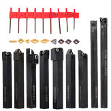 Drillpro 9pcs 12mm Shank Lathe Torno Bar Turning Tool Holder Set Com pastilhas de metal duro