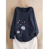Блуза большого размера с цветочным принтом Шея Блузка с длинным рукавом