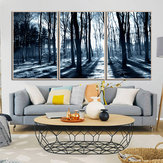 Miico Hand Painted Three Combination Decorative Paintings Woods Under The Moonlight Wall Art For Home Decoration