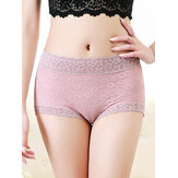 Plus Size Lace Floral Jacquard cintura alta algodão Briefs