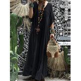 المرأة قصيرة الأكمام الجوف خارج رداء قفطان الصلبة فستان ماكسي
