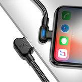 Bakeey 2.4A Type C Micro USB 90 grados Cable de datos de codo doble de carga rápida con luz indicadora para Huawei P30 Pro Mate 30 Mi9 9Pro Oneplus 6T 7 Pro