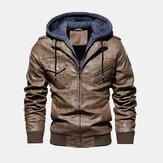 Mens Fashion PU Hooded Zipper Jacket Warm Thick Leather Coat