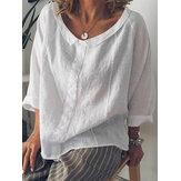 Blusa de manga larga casual de algodón puro para mujer