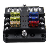 6 manieren Blade Fuse Box & Distribution Bar Bus Boat Car Kit Holder w / LED 32V 12V