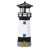 LED Solar Lighthouse Rotating Light Beacon Lamp Home Garden Yard Outdoor Decor