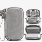 Boona 19cm*11cm Digital Accessories Storage Bag Double Layer 20000mAh Power Bank U Disk Memory Card USB Cable Organizer Travel Bag
