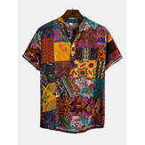 Mens Ethnic Style Patchwork Floral Printing Henley Shirts