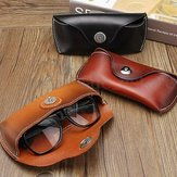 Vintage Handmade Cow Leather Glasses Case Causal Jeans Belt Eye Glasses Box