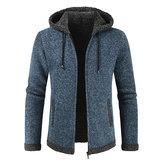メンズファッションフード付き編み厚手のドローストリングジャケット