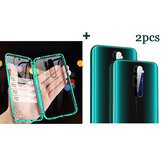 Bakeey Green Double-sided Tempered Glass Magnetic Adsorption Protective Case + 2PCS Soft Tempered Glass Phone Lens Protector for Xiaomi Redmi Note 8 PRO