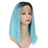 """14 """"Lace Front Wig Cheveux synthétiques Bue Black Roots Full Wigs"""