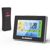 ELEGIANTلاسلكيداخليفيالهواءالطلق LCD محطة الطقس ساعةحائط ميزان الحرارة الرطوبة مراقب مع المستشعر