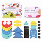 36 Adet Çocuklar Ahşap Desen Blokları Set Geometrik Şekil Bulmaca Yapboz Oyuncak